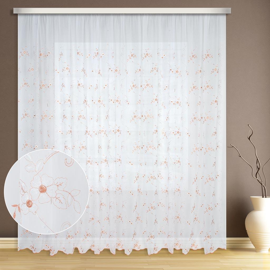 Тюль ТД Текстиль Кристалон цветок, цвет: бежевый, высота 260 см89546Персиковые цветочки вышитые на кристалоне уютно впишутся в интерьер.