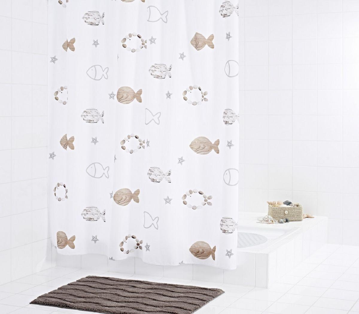 Штора для ванной комнаты Ridder Fishes, цвет: бежевый, коричневый, 180 х 200 см47819Штора для ванной комнаты Ridder Fishes, изготовленная из текстиля с антигрибковым и антистатическим покрытием, отлично дополнит любой интерьер ванной комнаты. Нижний кант утяжелен каучуковой лентой.