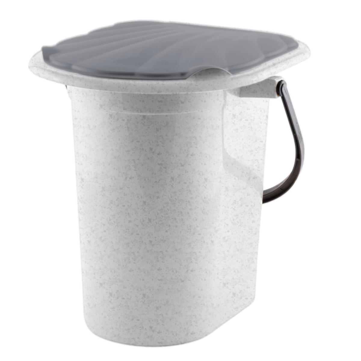 Ведро-туалет InGreen, цвет: мраморный, серый, 18 л ведро эмалированное кмк с крышкой с поддоном 10 л