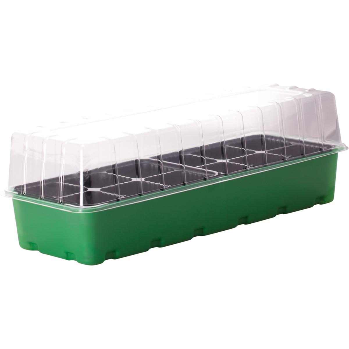 Минипарник для рассады InGreen, 12 ячеек, 40 х 17,4 х 13 смING60001FInGreen - компактный и удобный в использовании минипарник. Идеально подходит для выращивания рассады в домашних условиях. В комплекте: форма с ячейками под рассаду, поддон для стока лишней воды при поливе и крышка для создания благоприятного микроклимата для быстрой всхожести и роста рассады. Размер изделия: 40 х 17,4 х 13 см.