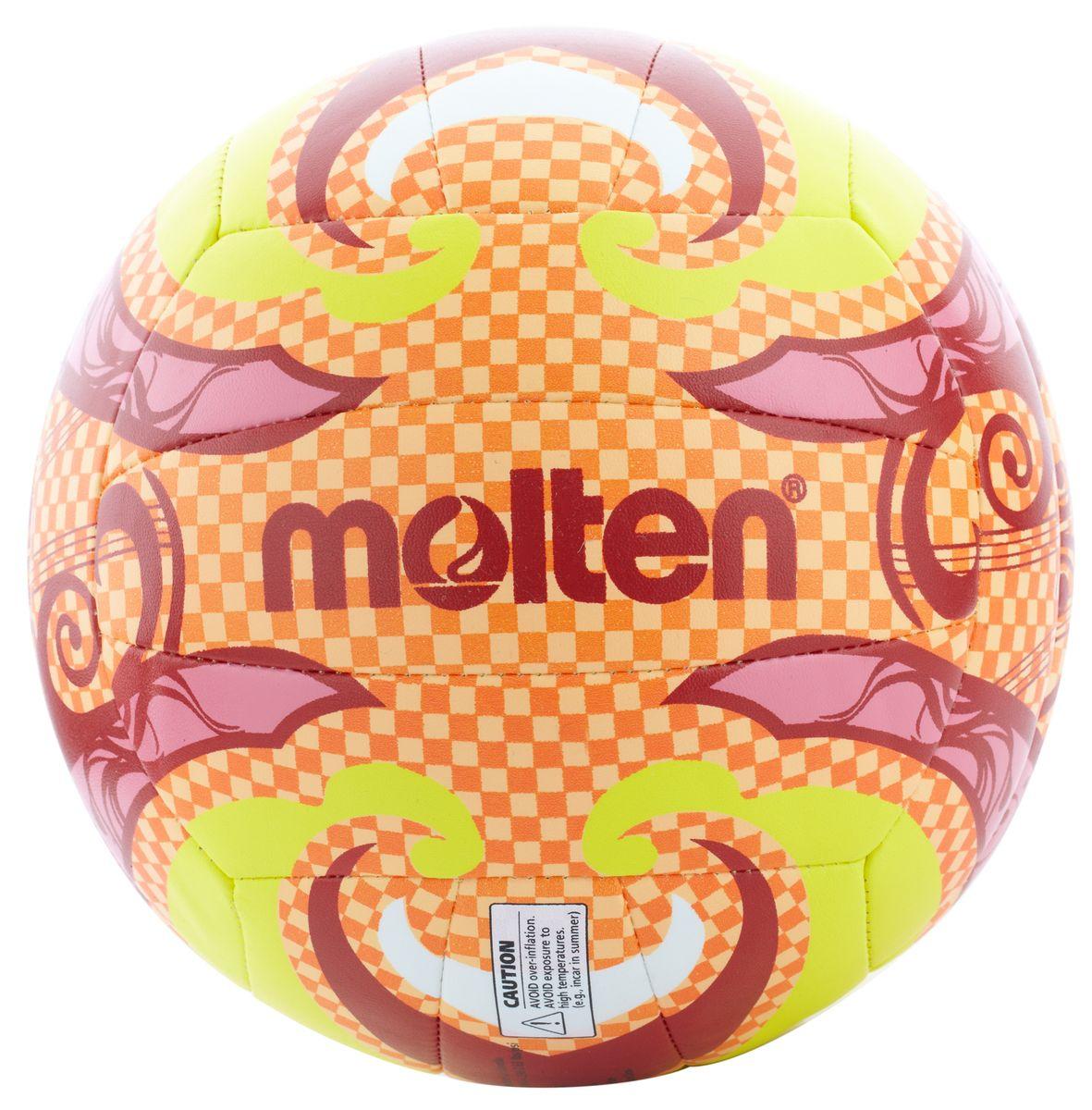 Мяч для пляжного волейбола Molten BV1500. Размер 5. V5B1502-OV5B1502-OМяч для пляжного волейбола изготовлен из тонкой синтетической кожи, обеспечивающей мягкий контакт с рукой. Машинное шитье, 18 панелей, резиновая камера.