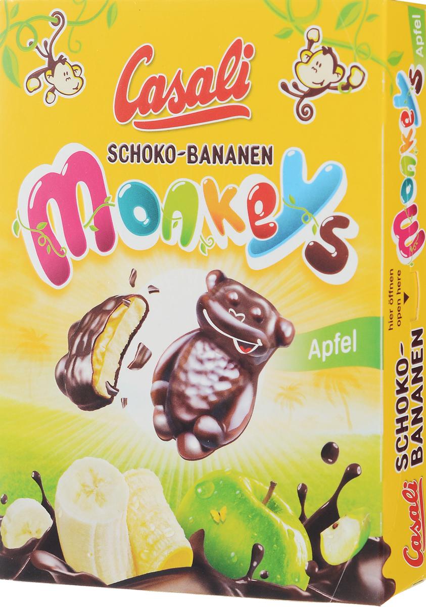 Casali Schoko-Bananen Monkeys суфле банановое в шоколаде с яблочной начинкой, 140 гирэ005Суфле Casali Shoko-Bananen - это идеальное соотношение начинки и шоколада; высокое качество шоколада обеспечивается собственным производством, начиная с обжарки какао бобов и заканчивая готовой продукцией; без консервантов и искусственных красителей; легкий шоколадный фруктовый восторг - всего 378 ккал в 100граммах! (меньше, чем в большинстве сладостей).