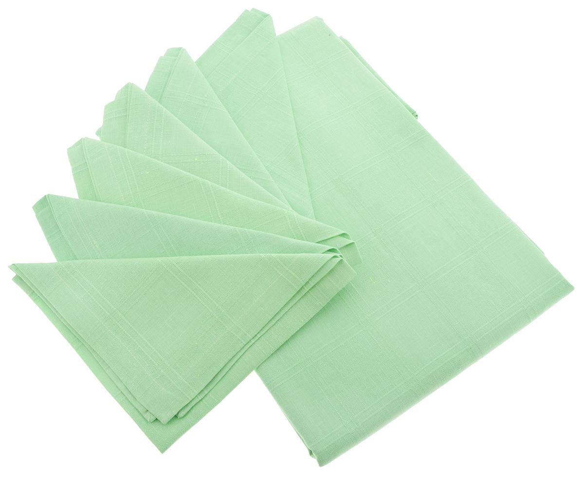 Комплект столовый Гаврилов-Ямский Лен, цвет: салатовый, 7 предметов1со6090Элегантный столовый комплект Гаврилов-Ямский Лен, выполненный из 100% льна, состоит из скатерти и шести салфеток. Лён - поистине, уникальный экологически чистый материал. Изделия из льна обладают уникальными потребительскими свойствами. Такой комплект порадует вас невероятно долгим сроком службы. Столовый комплект Гаврилов-Ямский Лен придаст вашему дому уют и тепло. Размер скатерти: 140 х 250 см. Размер салфетки: 42 х 42 см.