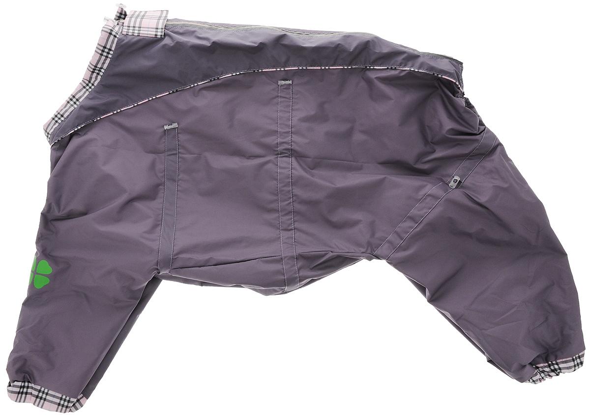 Комбинезон для собак Dogmoda Doggs, для девочки, цвет: серый, фиолетовый. Размер XXLDM-140523_серо-фиолетовыйКомбинезон для собак Dogmoda Doggs отлично подойдет для прогулок в прохладную погоду. Комбинезон изготовлен из полиэстера, защищающего от ветра и осадков, а на подкладке используется вискоза, которая обеспечивает отличный воздухообмен. Комбинезон застегивается на молнию и липучку, благодаря чему его легко надевать и снимать. Молния снабжена светоотражающими элементами. Низ рукавов и брючин оснащен внутренними резинками, которые мягко обхватывают лапки, не позволяя просачиваться холодному воздуху. На вороте, пояснице и лапках комбинезон затягивается на шнурок-кулиску с затяжкой. Модель снабжена непромокаемым карманом для размещения записки с информацией о вашем питомце, на случай если он потеряется. Благодаря такому комбинезону простуда не грозит вашему питомцу.