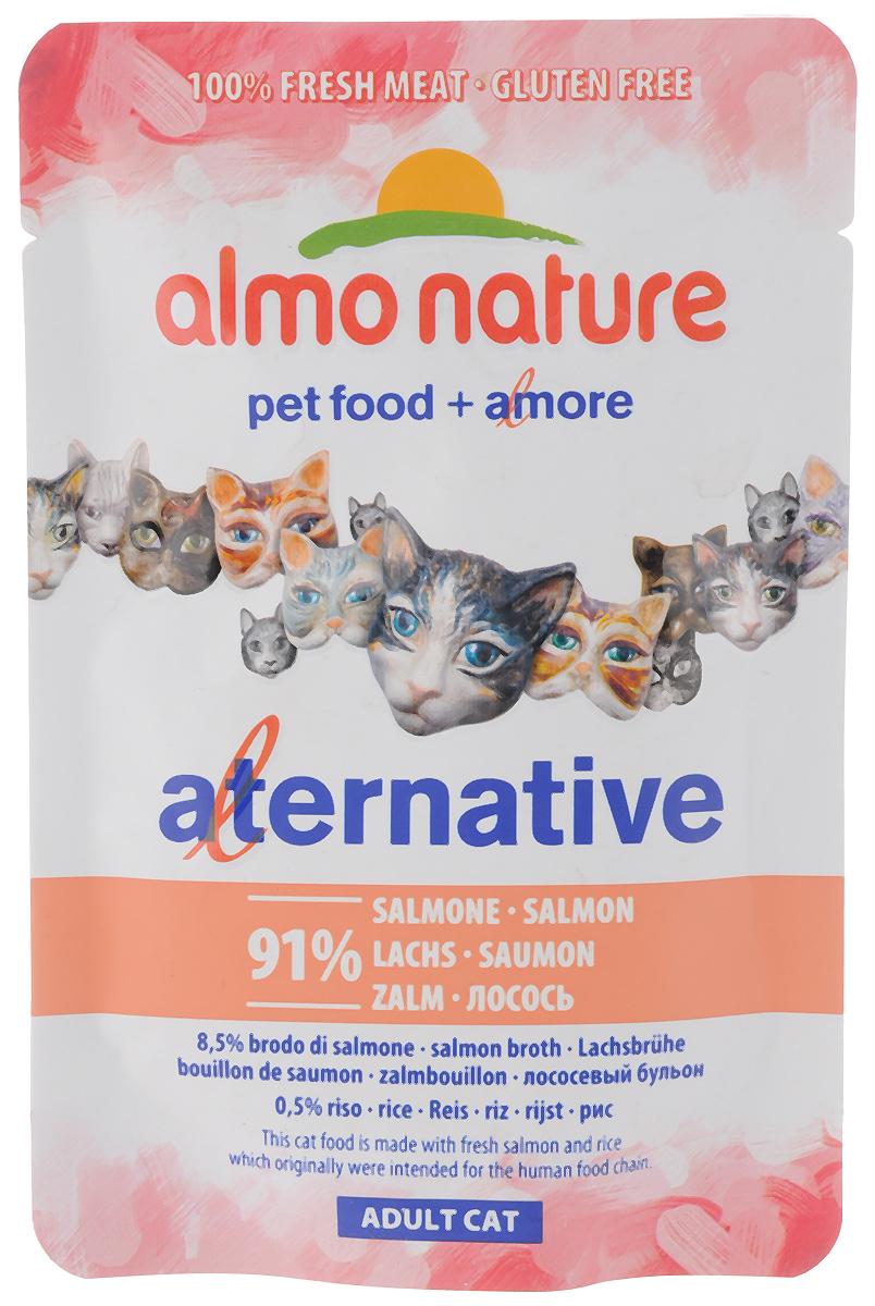 Консервы Almo Nature Alternative для кошек, с филе лосося, 55 г0120710Консервы Almo Nature Alternative - корм для кошек наиболее приближенный к природе. Уникальность его заключается в том, что мясо лосося не подвергается предварительной обработке, а упаковывается в свежем (сыром) виде и готовится внутри пауча, что позволяет сохранить все питательные вещества, неповторимый вкус и аромат мяса.Товар сертифицирован.