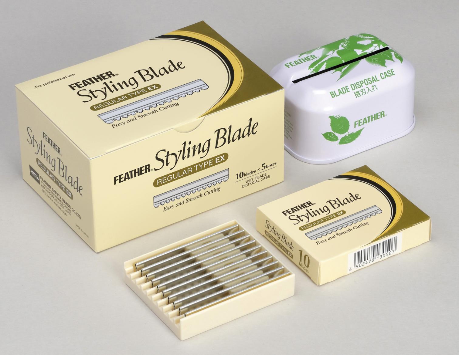 Feather набор лезвий для стрижки 5 диспенсеров и бокс для отработки лезвийGESS-131Специальные лезвия дляфилировочных бритв для стрижки волос. Благодаря тонкому наклонному срезу, который дает бритва, концы волос отлично падают по форме стрижки, создается красивая текстура.Используются при работе с бритвамидля стрижки волос серииStyling Razor.