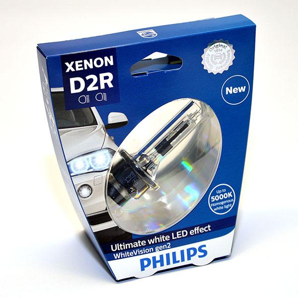 Лампа автомобильная ксеноновая Philips WhiteVision gen2, цоколь D2R, 85 Вт. 85126 WHV2S185126 WHV2S1? Мощный равномерный яркий белый свет ? Идеально сочетается со светодиодным освещением вашей машины ? Белый свет до 5000K на дороге ? Улучшение видимости на 120%* ? Лампа, разрешенная для использования на дорогах общего пользования С лампами Philips Xenon WhiteVision gen2 машина становится более заметной, а освещение дороги более ярким и равномерным. Xenon WhiteVision gen2 — идеальный выбор, если вы хотите сочетать ксенон со светодиодным освещением автомобиля.