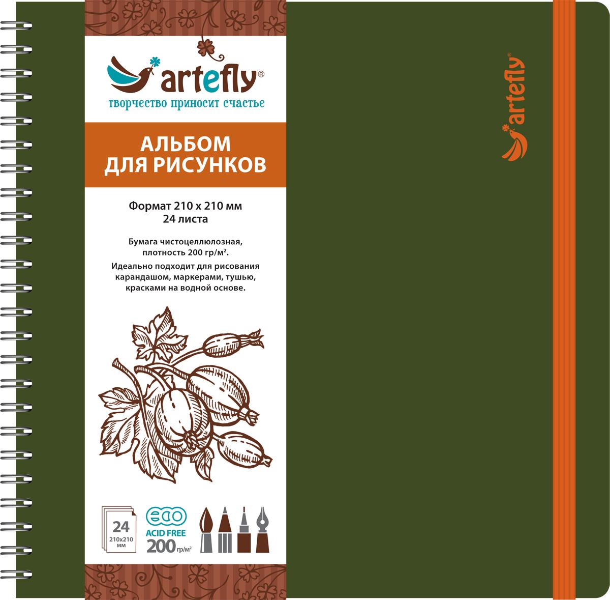 Artefly Альбом для рисования 24 листа цвет зеленый AFNB-2253AFNB-2253Альбом идеально подходит для рисования в нем карандашом, маркерами, тушью, красками на водной основе. Удобная эластичная застежка защитит Вашу записную книжку. Переплет на спирали делает альбом еще более удобным и позволяет с легкостью переворачивать страницы.