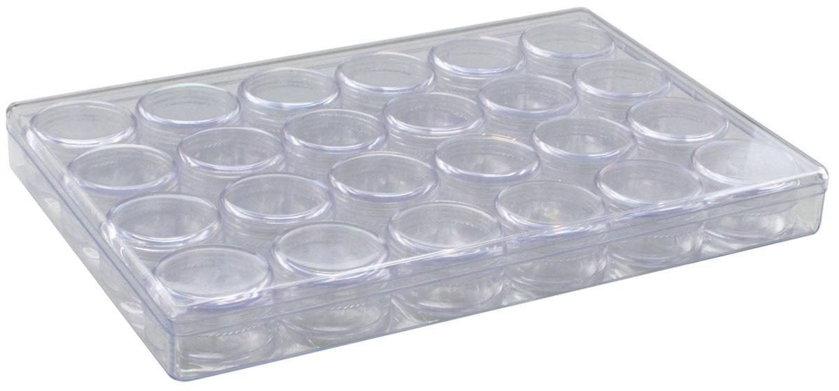 Контейнер для мелочей Hobby & Pro, с 24 баночками, 24,1 х 16,3 х 2,7 см7714911Контейнер для мелочей Hobby & Pro изготовлен из прозрачного пластика, что позволяет видеть содержимое. Подходит для хранения швейных принадлежностей, рыболовных снастей, мелких деталей и других бытовых мелочей. Внутри содержатся 24 маленькие баночки с крышками, которые позволяют хранить и очень мелкие детали и принадлежности, например, стразы, бисер или пайетки. Такой контейнер поможет держать вещи в порядке.