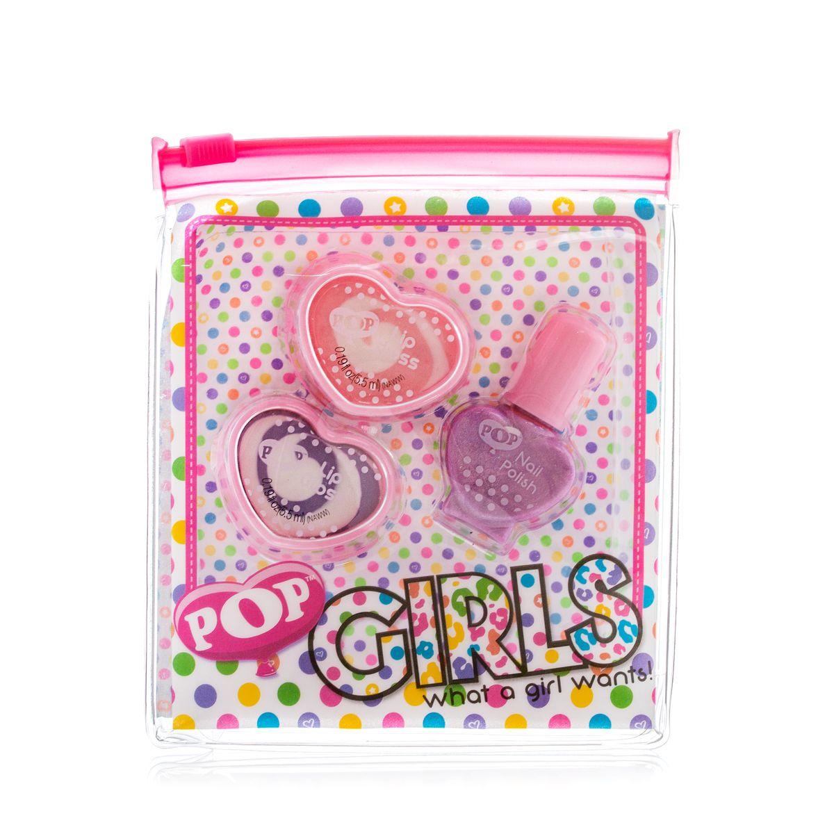 Markwins Игровой набор детской декоративной косметики для губ и ногтей POP 36050513605051Состав набора: блески для губ в баночках 2 шт., лак на водной основе для ногтей 1 шт.