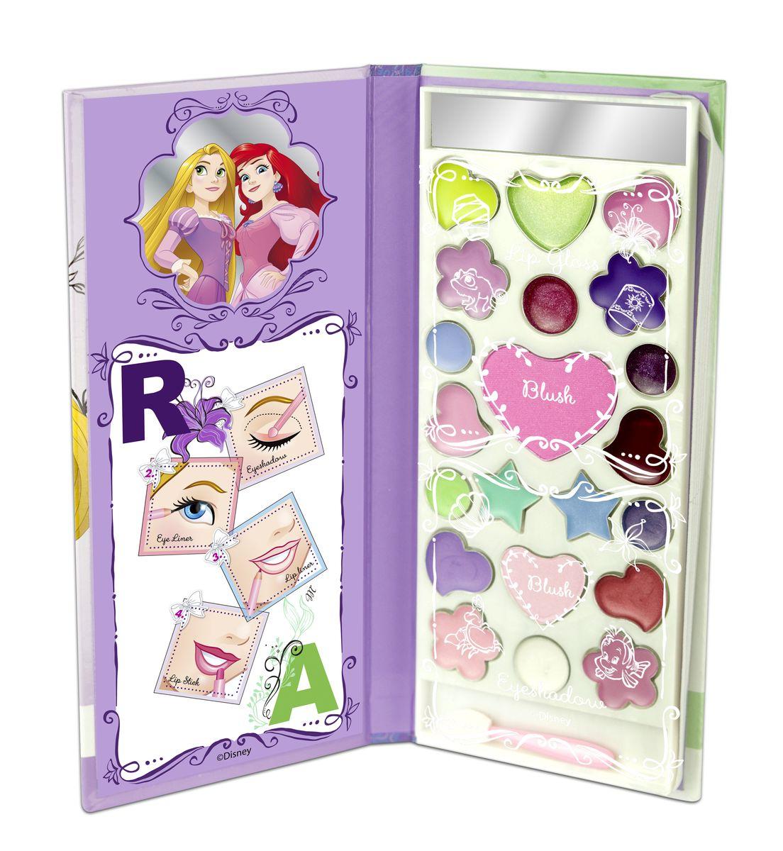 Markwins Игровой набор детской декоративной косметики Princess AR в книжке1301207Состав набора: палитра блесков для губ из 10 оттенков, румяна 2 оттенка, палитра кремовых теней для век из 9 оттенков, аппликатор 1 шт., зеркальце 1 шт.