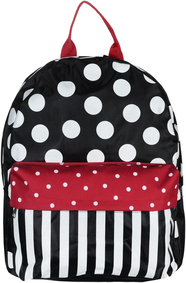 Рюкзак Аntan Горошек, цвет: черный, белый, красный. 6-7RivaCase 8460 blackЯркий рюкзак Аntan выполнен из высококачественного полиэстера и оформлен оригинальным принтом. На лицевой стороне расположен объемный накладной карман на молнии. Рюкзак оснащен удобными лямками, длина которых регулируется с помощью пряжек. Изделие закрывается с помощью застежки-молнии. Внутри расположено главное вместительное отделение, которое содержит отделение для ноутбука.