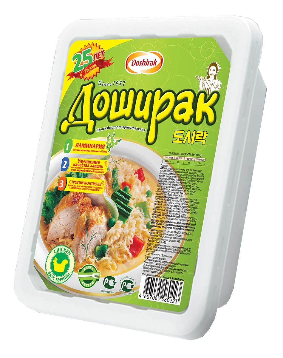 Doshirak лапша быстрого приготовления со вкусом курицы, 90 г4607065580223Лапша быстрого приготовления, стоит лишь залить кипятком.