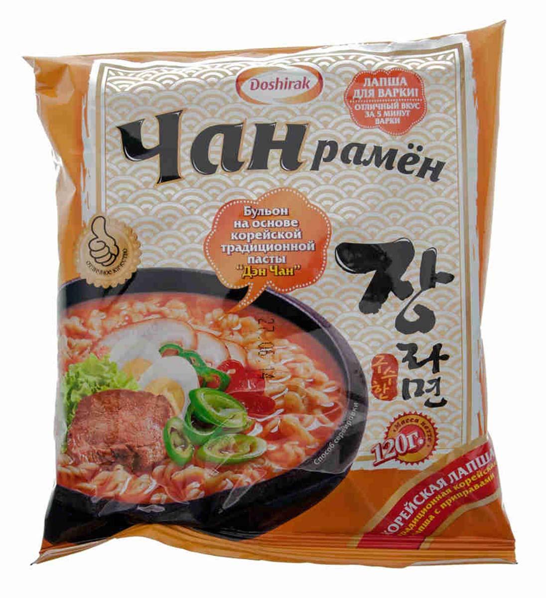 Doshirak Чан рамен лапша быстрого приготовления со вкусом говядины, 120 г4607065580605Лапша быстрого приготовления, стоит лишь залить кипятком.
