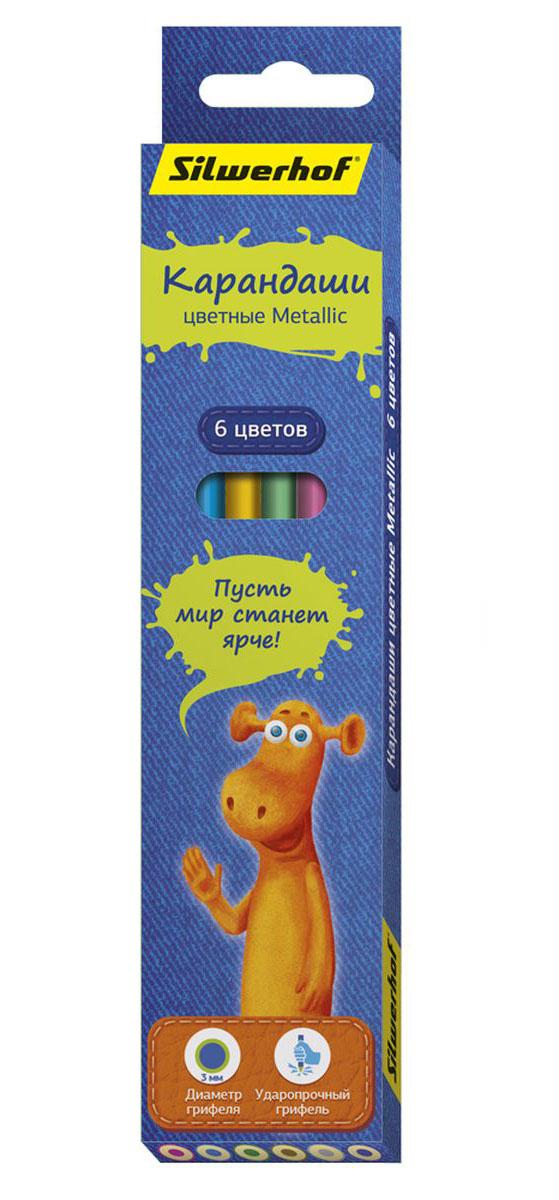 Silwerhof Карандаши цветные Джинсовая коллекция с эффектом Metallic 6 цветов72523WDС помощью цветных карандашей Silwerhof Джинсовая коллекция.Metallic дети могут создавать необычные рисунки. Особенно эффектными получаются изображения, выполненные на темной или черной бумаге.Корпус цветных карандашей выполнен из натурального дерева.Благодаря специальной обработке, многослойной прокраске и лакировке, карандаши легко затачиваются, и их приятно держать в руках.Грифель карандашей – мягкий.Карандаши поставляются в картонной коробке с европодвесом.В набор входят шесть карандашей разных цветов.