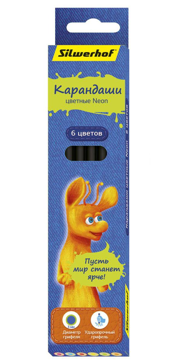 Silwerhof Карандаши цветные Джинсовая коллекция с эффектом Neon 6 цветов 134205-06