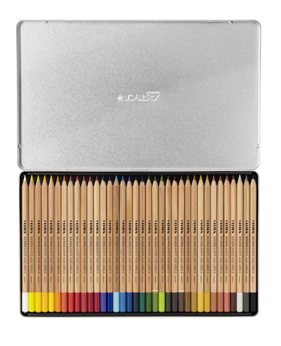Lyra Художественные цветные карандаши Rembrandt Aquarell 36 цветовL2011360Набор цветных акварельных художественных карандашей Lyra REMBRANDT AQUARELL 36 цветов, в металлической коробке