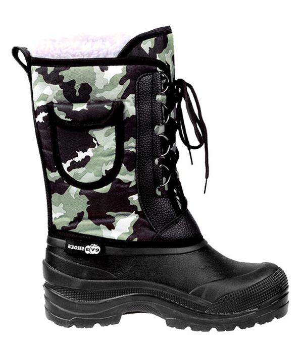 Сапоги зимние EVA Shoes Аляска (-40), цвет: черный, зеленый камуфляж. Размер 46162Зимние сапоги EVA Shoes Аляска (-40) - это легкая, теплая и удобная обувь для зимней рыбалки и охоты. Галоша выполнена из ЭВА. Голенище изготовлено из прочного оксфорда. Внутри расположен съемный чулок из натурального меха с фольгой и спанбондом. На каждом из сапогов расположен небольшой кармашек на липучке. Шнурки помогают плотно прижимать сапог к ноге.