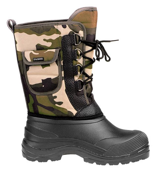 Сапоги зимние EVA Shoes Милитари (-40), цвет: черный, камуфляж. Размер 43162Легкие и теплые зимние сапоги EVA Shoes Милитари (-40) отлично подойдут для охоты и рыбалки в зимнее время года. Галоша сапог выполнена из этилвинилацетата (ЭВА), это гибкий, эластичный, износостойкий, водонепроницаемый материал, а кроме того, легкий, поэтому сапоги имеют небольшой вес. Верх изготовлен из непромокаемого плотного оксфорда, дублированного поролоном. Съемная внутренняя поверхность выполнена из натурального меха и отделана фольгой и спанбондом для сохранения тепла. Специальная рифленая подошва создает отличное сцепление с любой поверхностью. Шнуровка обеспечивает плотное облегание голенища по ноге. Обувь предназначена как для сырой холодной погоды, так и для сильных морозов. Сапоги обеспечивают высокий уровень тепла и комфорта даже в мороз до -40°С. На голенище расположен небольшой карман на липучке.