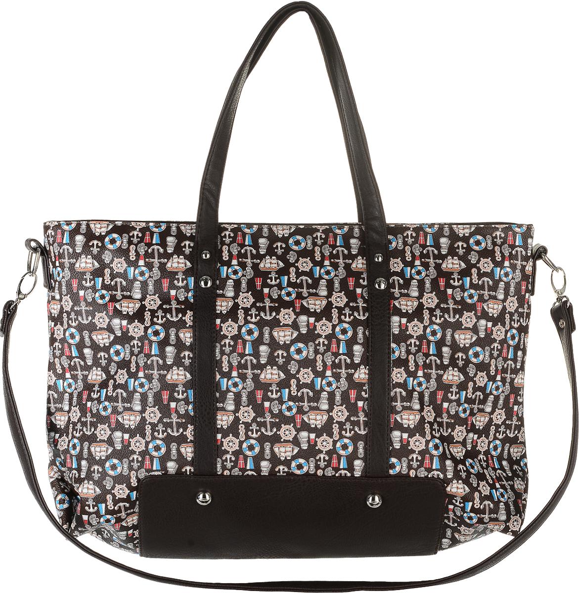 Сумка женская Аntan, цвет: темно-коричневый, голубой, молочный. 842842Модная женская сумка Аntan, выполненная из искусственной кожи, оформлена принтом в морском стиле. Изделие имеет одно отделение, которое закрывается на застежку-молнию. Внутри сумки находятся прорезной карман на застежке-молнии и два накладных открытых кармана. Сумка оснащена двумя удобными ручками. В комплект входит съемный плечевой ремень.