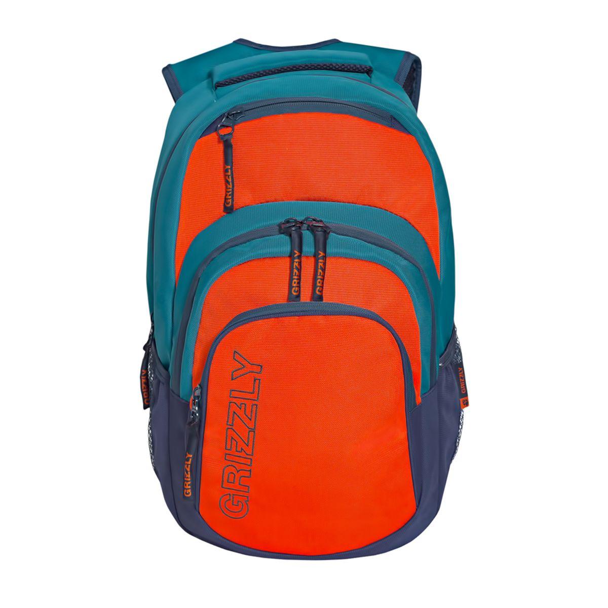 Рюкзак городской Grizzly, цвет: бирюзовый, оранжевый. 32 л. RU-704-1/4Костюм Охотник-Штурм: куртка, брюкиРюкзак городской Grizzl выполнен из высококачественного таслана. Рюкзак имеет ручку-петлю для подвешивания и две укрепленные лямки, длина которых регулируется с помощью пряжек. Модель имеет одно основное отделение, которое дополнено внутренним составным пеналом-органайзером и укрепленным карманом для ноутбука. Передняя сторона оснащена двумя объемными карманами на молнии и верхним кармашком быстрого доступа.Боковые стенки дополнены объемными карманами из сетки. Тыльная сторона рюкзака имеет укрепленную спинку и нагрудную стяжку-фиксатор.
