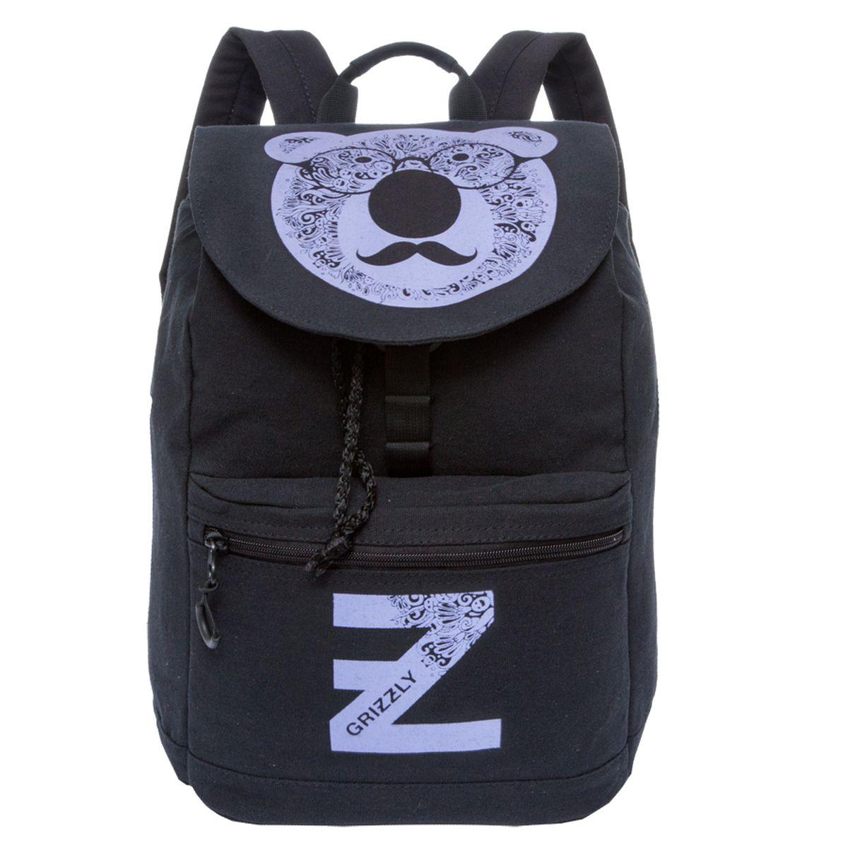 Рюкзак молодежный Grizzly, цвет: черный-лиловый. 18 л. RD-744-1/3H009Рюкзак молодежный, одно отделение, клапан на пряжке-крючкеобъемный карман на молнии на передней стенке, карман для гаджета,внутренний карман на молнии, укрепленная спинка, дополнительная ручка-петля, укрепленные лямки, закрывается затягивающимся шнуром