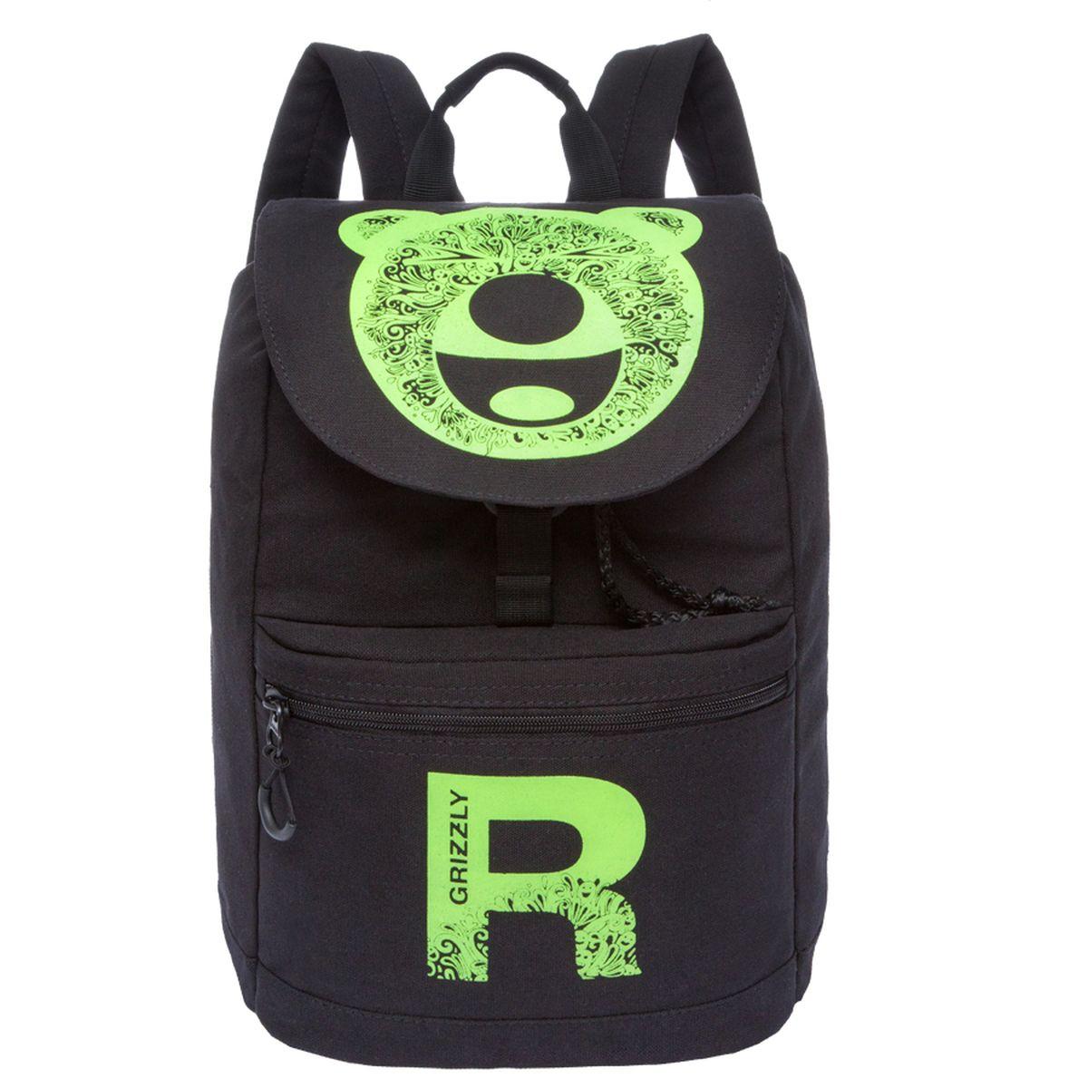 Рюкзак молодежный Grizzly, цвет: черный-желтый. 18 л. RD-744-1/2RD-744-1/2Рюкзак молодежный, одно отделение, клапан на пряжке-крючкеобъемный карман на молнии на передней стенке, карман для гаджета,внутренний карман на молнии, укрепленная спинка, дополнительная ручка-петля, укрепленные лямки, закрывается затягивающимся шнуром