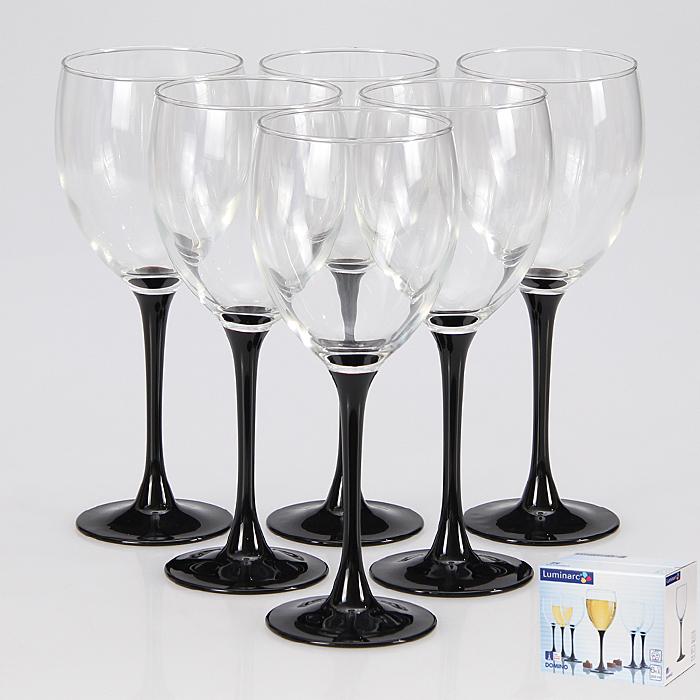 Набор бокалов Luminarc Домино, 350 мл, 6 штJ0015Стильный набор бокалов для красного вина Домино от Luminarc подойдет для использования в любых интерьерах. Бокалы выполнены в современном дизайне, необычности им добавляет изящная черная ножка. Они изготовлены из ударопрочного стекла, которое долговечно, не впитывает запахи и обладает антибактериальными свойствами. Набор состоит из шести бокалов, каждый объемом 350 мл. Он надежен и долговечен. Можно мыть в посудомоечной машине. Диаметр бокала (по верхнему краю): 7,5 см. Высота бокала: 20,5 см.