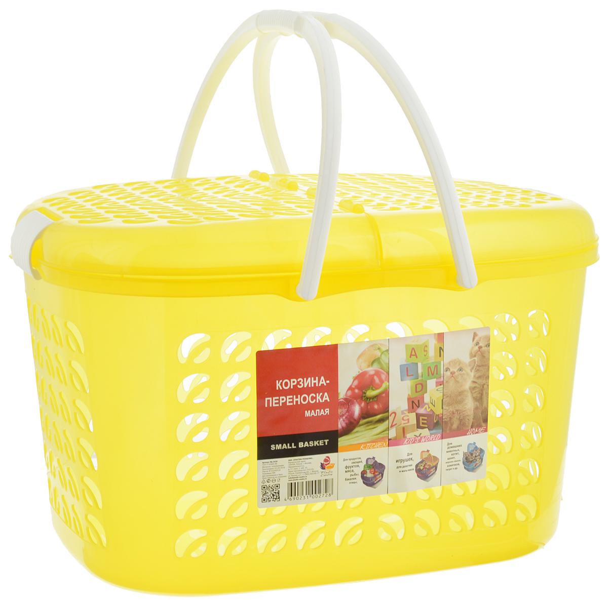 Корзина-переноска Plastic Centre, цвет: желтый, белый, 37 х 27,5 х 23 смUP210DFКорзина-переноска Plastic Centre выполнена из прочного пластика. Корзина прекрасно подойдет для хранения продуктов, детских игрушек или переноски небольших домашних животных. На стенках и крышке расположены фигурные отверстия, дно сплошное. Оснащена двумя пластиковыми ручками, крышкой, открывающейся с двух сторон, и крепкими защелками.Размер корзины (с учетом крышки, без учета ручек): 37 х 27,5 х 23 см.