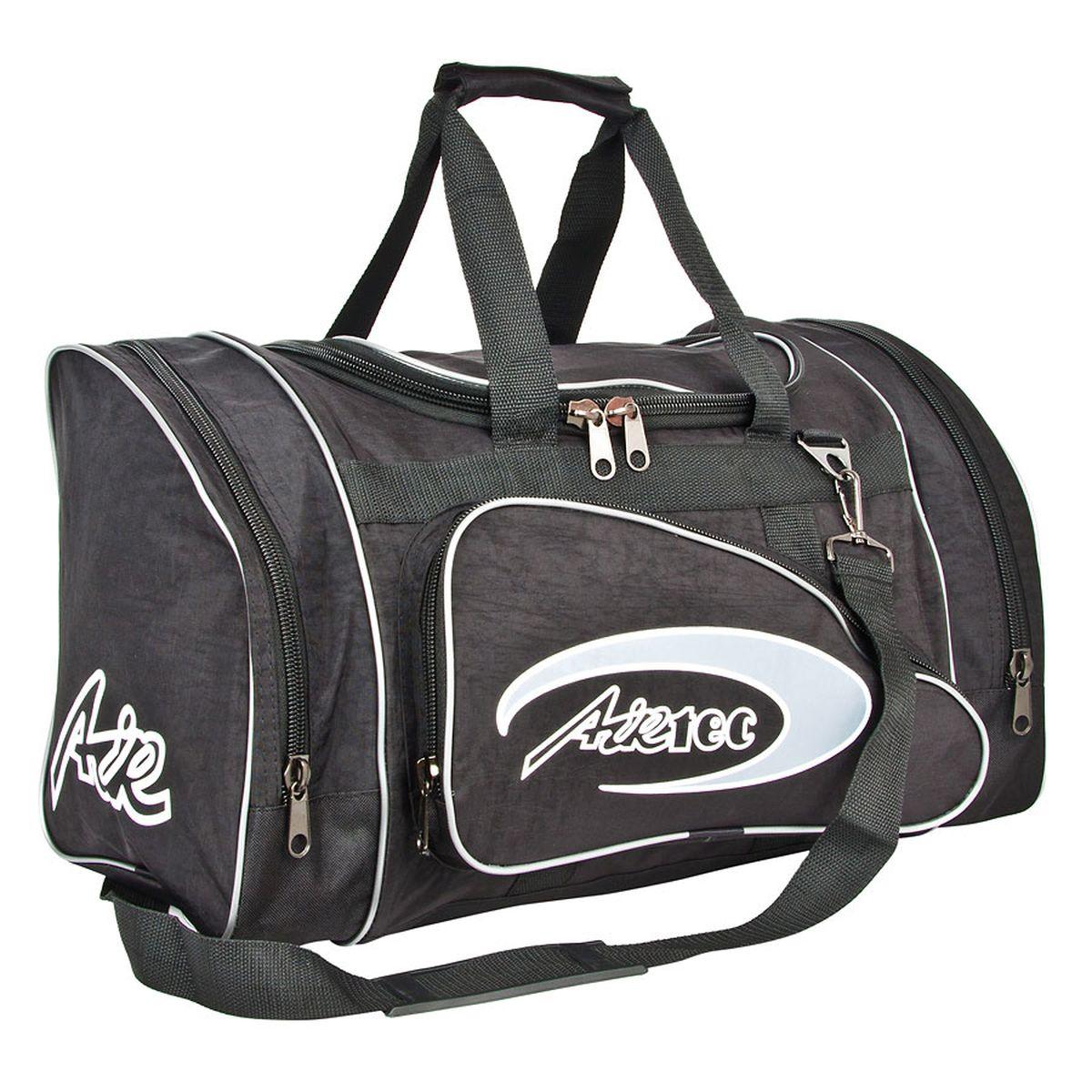Сумка спортивная Polar, цвет: черный, 36 л. п03п03_черныйМатериал – полиэстер с водоотталкивающей пропиткой. Вместительная спортивная сумка среднего размера. Одно отделение внутри. Карман на молнии. Два боковых кармана и два кармана на передней части. В комплект входит съемный плечевой ремень. Эта сумка идеально подойдет для спорта и отдыха. Спортивная сумка для ваших вещей.