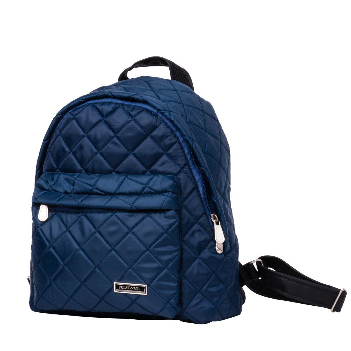 Рюкзак городской Polar, цвет: синий, 16 л. п7074-044670018862011Небольшой и очень удобный рюкзак Polar для повседневного использования. Внутри расположены два небольших открытых кармана и карман на молнии. Снаружи на передней стенке рюкзака вместительный накладной кармана на молнии. Рюкзак выполнен из стеганого материала, дно и лямки имеют вставки из экокожи. Сверху рюкзак имеет удобную ручку для переноски.