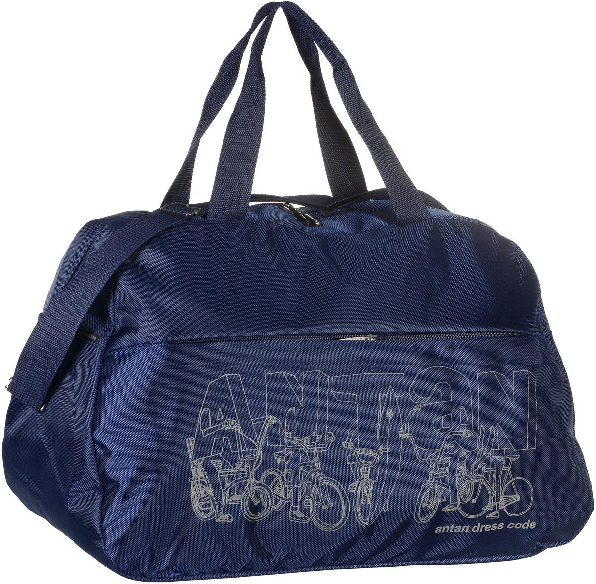 Сумка дорожная Аntan Bike, цвет: темно-синий. 2-1692-169Вместительная дорожная сумка Аntan Bike выполнена из полиэстера и оформлена на лицевой стороне фирменным принтом. Изделие имеет одно отделение, которое закрывается на застежку-молнию. Снаружи, на передней стенке расположен накладной карман на застежке-молнии. Сумка оснащена двумя удобными ручками. В комплект входит съемный регулируемый плечевой ремень. Изделие имеет жесткое основание.