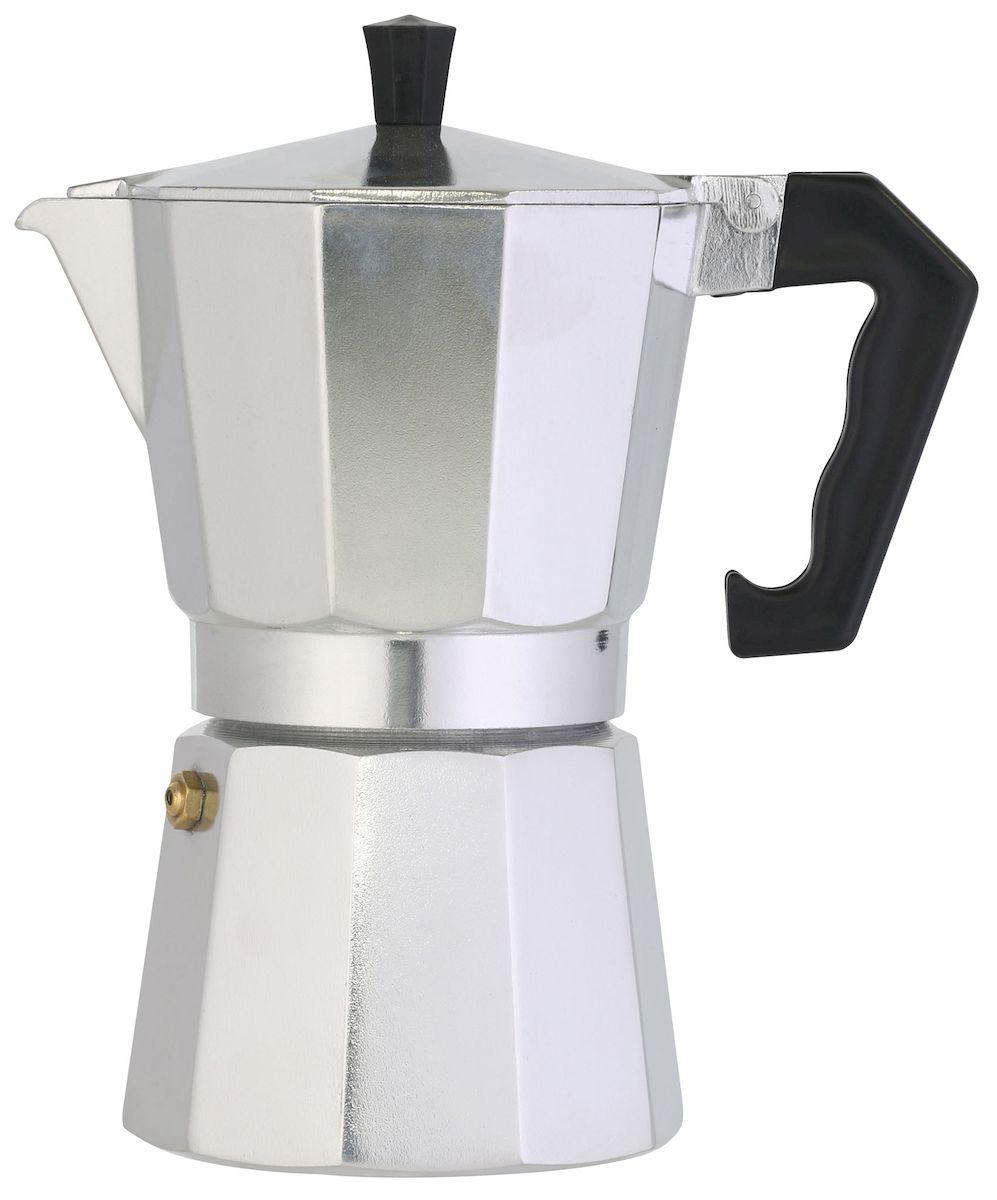 Кофеварка Axentia для Espresso, цвет: серебристый, на 6 чашек116786Гейзерная кофеварка Axentia позволит вам приготовить ароматный кофе Espresso на 6 персон. Корпус кофеварки изготовлен из высококачественного литого алюминия. Кофеварка состоит из двух соединенных между собой емкостей и снабжена алюминиевым фильтром-перколятором, который сохраняет аромат кофе. Данная модель предельно проста в использовании, в ней отсутствуют подвижные части и нагревательные элементы, поэтому в ней нечему ломаться. Гейзерные кофеварки являются самыми популярными в мире и позволяют приготовить ароматный кофе за считанные минуты. Основной принцип действия гейзерной кофеварки состоит в том, что напиток заваривается путем прохождения горячей воды через слой молотого кофе. В нижнюю часть гейзерной кофеварки заливается вода, в промежуточную часть засыпается молотый кофе, кофеварка ставится на огонь или электрическую плиту. Закипая, вода начинает испаряться и превращается в пар. Избыточное давление пара в нижней части кофеварки...