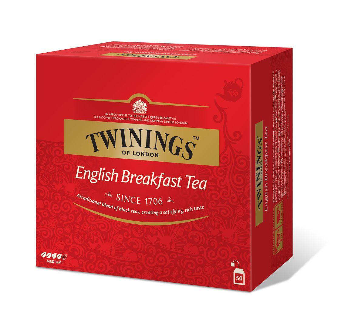 Twinings English Breakfast чай черный в пакетиках, 50 шт701160Черный чай в пакетиках Twinings English Breakfast с классическим вкусом изготовлен из смеси сортов черного чая.