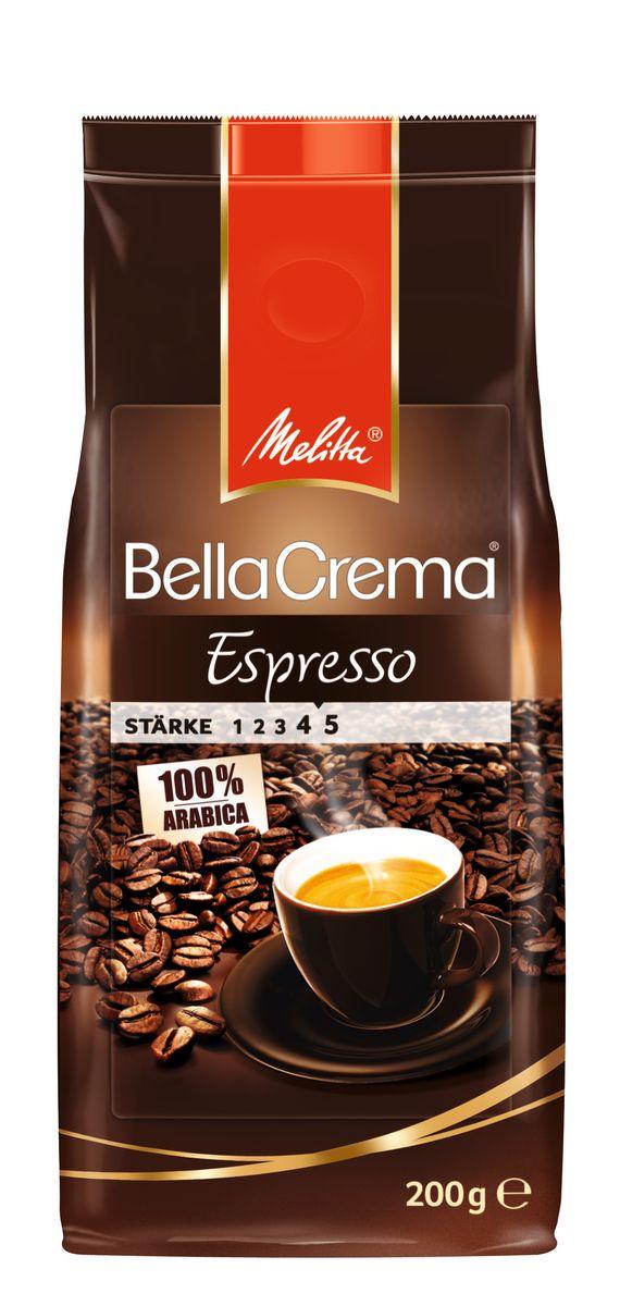 Melitta BellaCrema Espresso кофе в зернах, 200 г0120710100% Арабика Крепкий кофе для Эспрессо Кофейная композиция с легкими перечными нотками Мягкая упаковка с клапаном Предназначен для приготовления кофе в кофеварках и кофемашинах Можно молоть вручную и варить в турке