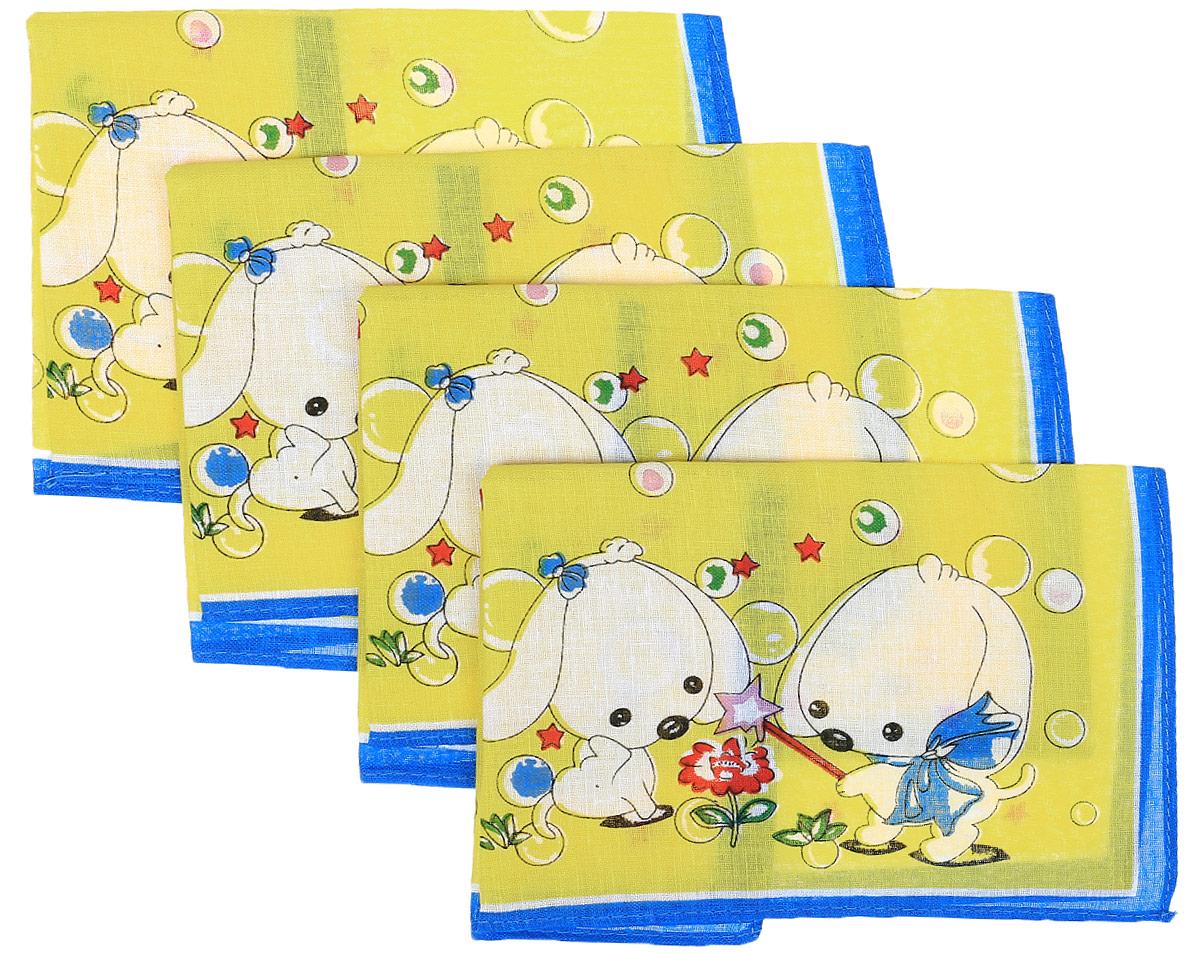 Платок носовой детский Zlata Korunka, цвет: желтый, синий, 4 шт. 71406. Размер 27 х 27 смСерьги с подвескамиДетские носовые платки Zlata Korunka изготовлены из натурального хлопка, приятны в использовании, хорошо стираются, материал не садится и отлично впитывает влагу. В упаковке 4 штуки.