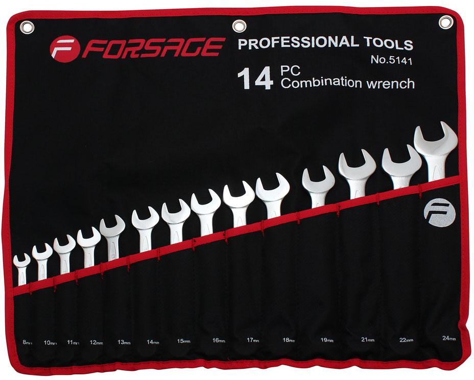 Ключи комбинированные Forsage, в чехле, 14 предметов. 51415141Набор ключей комбинированных 14 предметов Forsage 5141