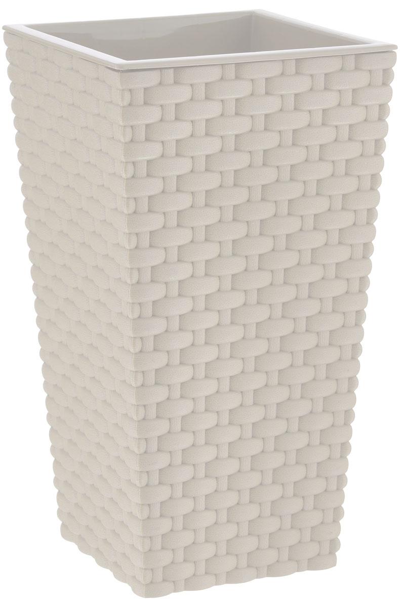Кашпо Idea Ротанг, со вставкой, цвет: белый, 13,5 х 13,5 х 25 см531-102Кашпо Idea Ротанг изготовлено из высококачественного пластика с плетеной текстурой.В комплекте пластиковая вставка, которая вставляется в кашпо.Такое кашпо прекрасно подойдет для выращивания растений и цветов в домашних условиях. Лаконичный дизайн впишется в интерьер любого помещения. Размер кашпо: 13,5 см х 13,5 см х 25 см. Размер вставки: 13,5 см х 13,5 см х 13 см.