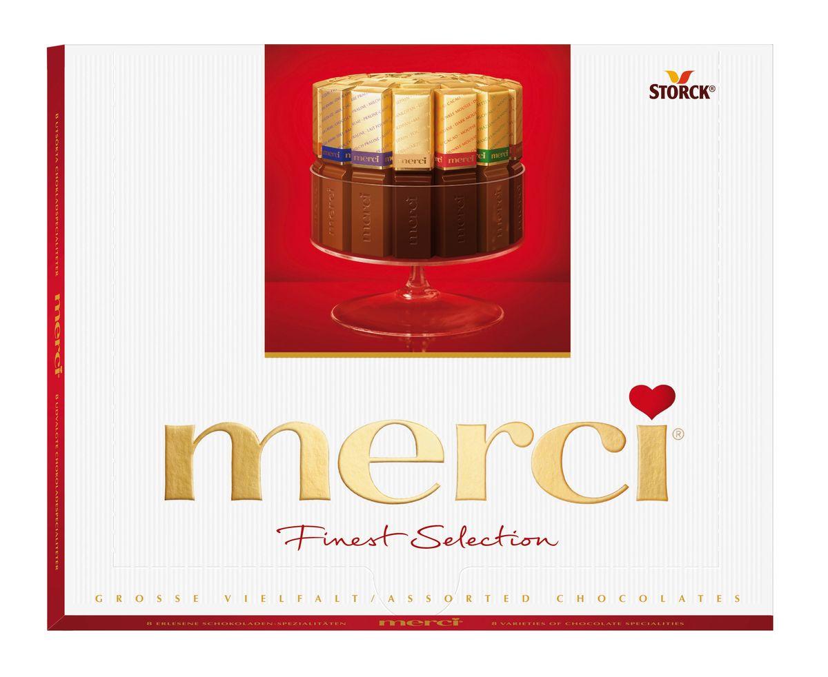 Merci Конфеты ассорти, 250 г015409Merci Finest Selection - это великолепное ассорти из уникальной коллекции изысканного шоколада, для производства которого используются ингредиенты высокого качества. Наборы шоколадных конфета Merci представлены в четырех вкусах: Ассорти, Ассорти молочный, Ассорти темный, Ассорти миндаль. Как еще выразить благодарность от всего сердца близкому вам человеку?