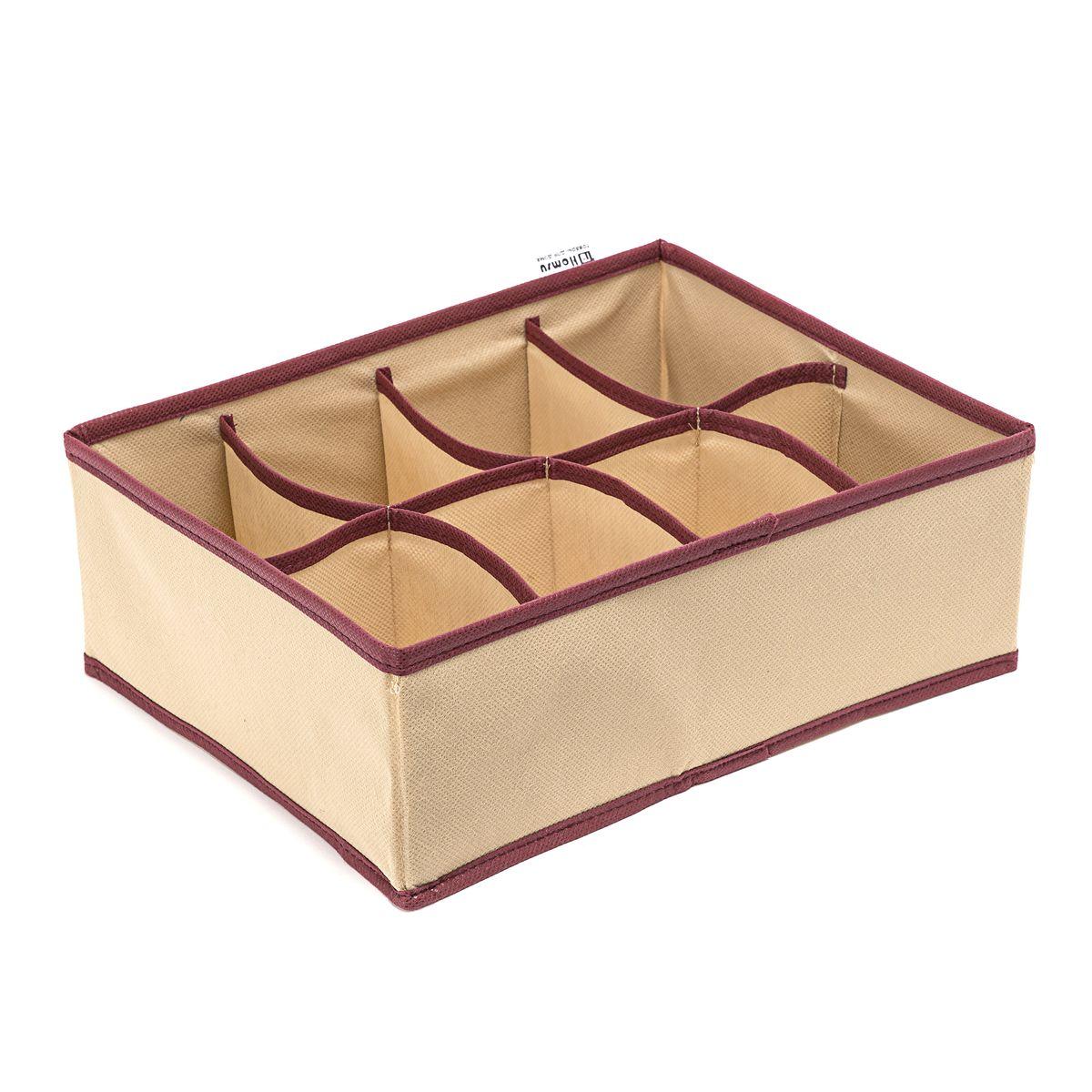 Органайзер Homsu Comfort, 8 секций, цвет: бежевый, 31 x 24 x 11 смHOM-678Прямоугольный, плоский органайзер имеет 8 раздельных ячеек размером 12Х8см, очень удобен для хранения вещей среднего размера в вашем ящике или на полке. Идеально для белья, шапок, рукавиц и других вещей ежедневного пользования. Имеет жесткие борта, что является гарантией сохранности вещей. Размер изделия:31x24x11см