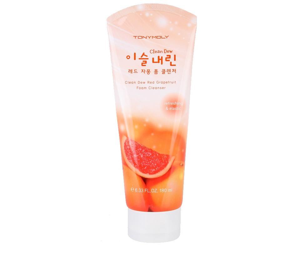 TonyMoly Пенка для умывания с экстрактом грейпфрута Clean Dew Red Grape Fruit Foam Cleanser, 180 млSS02013600Густая воздушная пенка в качестве основного активного компонента содержит экстракт красного грейпфрута, который увлажняет кожу, повышает её тонус. Насыщает витаминами, способствует эффективному очищению от всех видов загрязнений, декоративной косметики и уходовых средств. Благодаря мельчайшим пузырькам кислорода она производит нежный и мягкий микромассаж кожи, эффективно и деликатно отшелушивает ороговевшие клетки кожи. Экстракт грейпфрута обладает выраженным тонизирующим эффектом, снижает выделения кожного жира, поэтому особенно рекомендуется для жирной кожи. Средство для умывания помогает бороться с угревой сыпью, продукт содержит витамины Р и С, которые стимулирую восстановление и образование новых клеток, борются с преждевременным старением, улучшают иммунитет кожи. Экстракт грейпфрута обладает отбеливающими свойствами, осветляет пигментные пятна, делает тон лица более ровным. Пенку Clean Dew Red GrapeFruit Foam Cleanser? можно использовать для всех типов кожи.