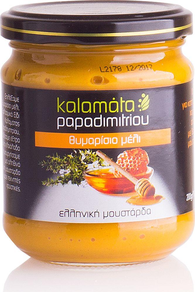 Papadimitriou горчица с медом тимьяна, 200 г12.0025Мягкая горчица в удобной упаковке. Kalamata Papadimitriou является ведущим брендом соусов и уксусов в Греции и экспортируется в разные страны по всему миру.