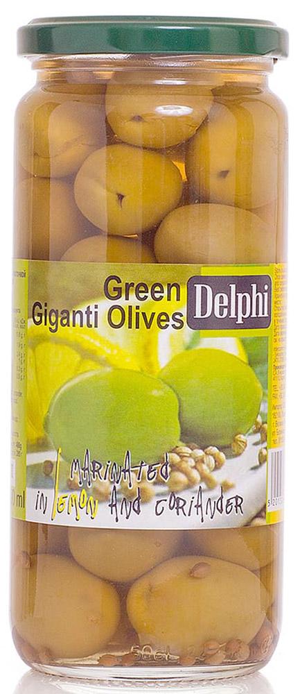 Delphi Оливки с косточкой маринованные с лимоном и кориандром, 480 г0120710В стеклянной банке находятся зеленые отборные делфи оливки, выращенные на солнечном острове Крит, содержащие косточки, которые залиты рассолом.
