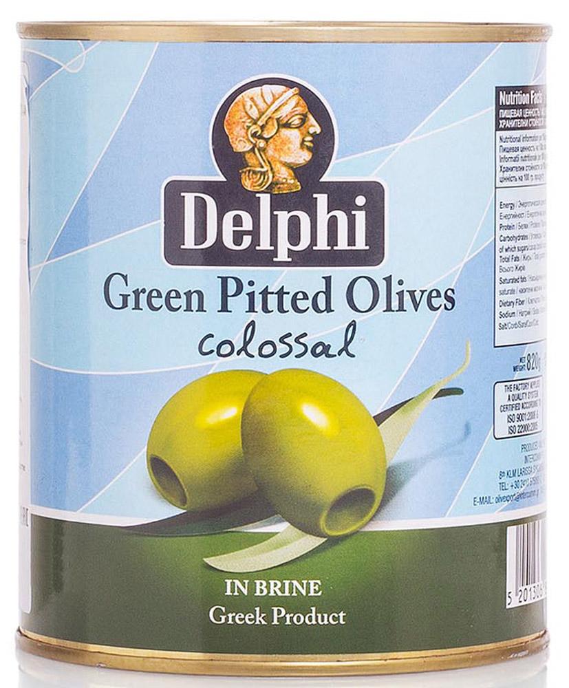 Delphi Оливки без косточки в рассоле Colossal 121-140, 820 г51.0034,1В жестяной банке находятся зеленые отборные делфи оливки, выращенные на солнечном острове Крит, не содержащие косточек, которые залиты рассолом.