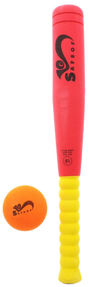 Safsof Игровой набор Бейсбольная бита и мяч цвет красный желтый оранжевый BB-18_красный,желтый,оранжевый