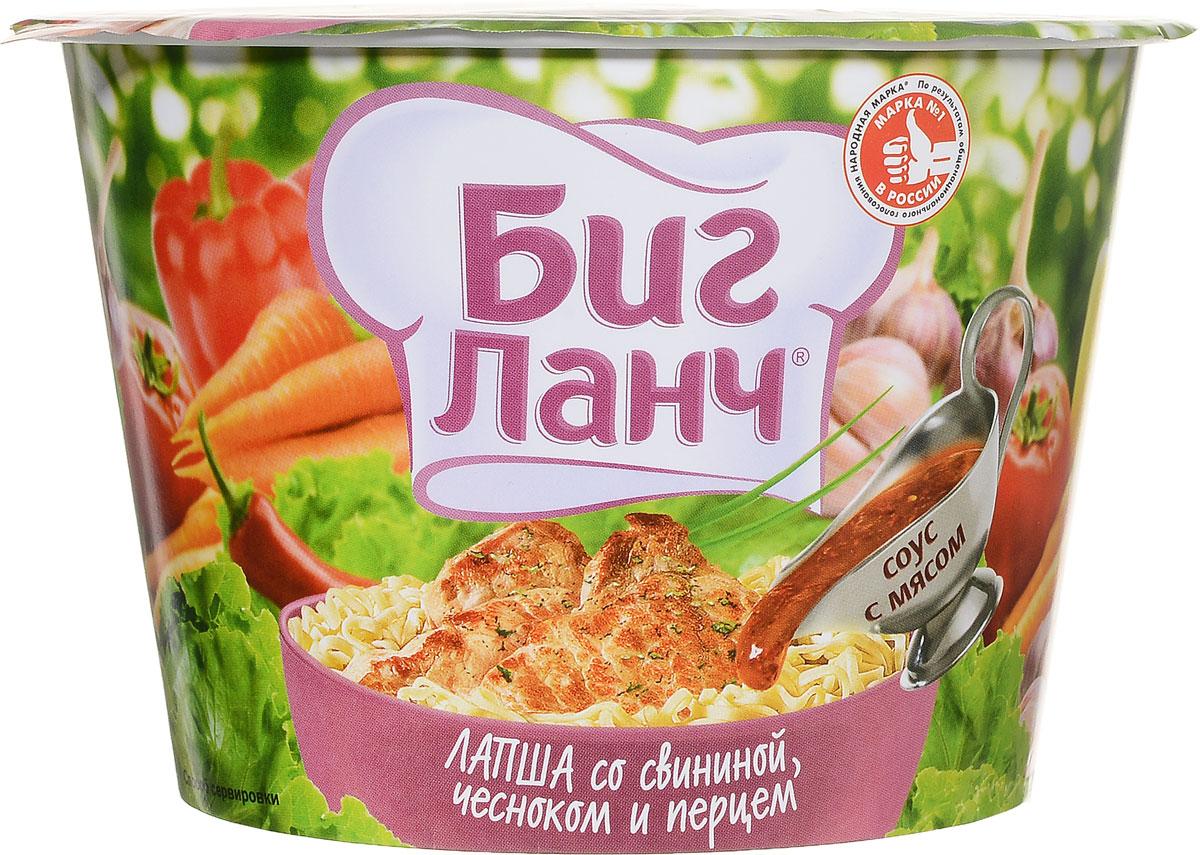 Биг Ланч Лапша быстрого приготовления со свининой, чесноком и перцем, 90 г0120710Лапша быстрого приготовления Биг Ланч со свининой, чесноком и перцем.Способ приготовления:Выложите содержимое всех пакетиков в стакан и залейте кипящей водой. Накройте крышкой, подождите 4 минуты и тщательно перемешайте. Блюдо готово.Приятного аппетита!