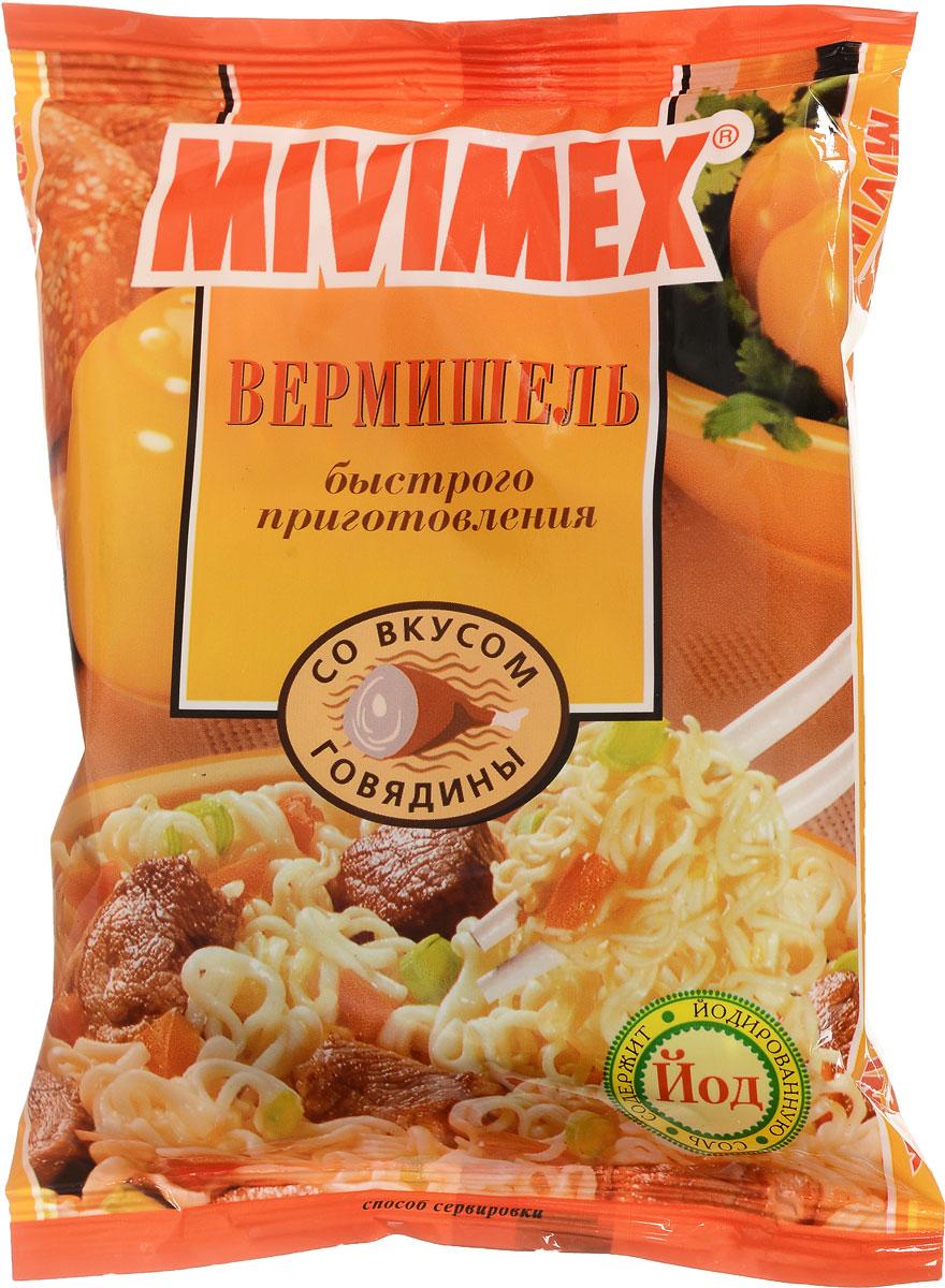 Mivimex Вермишель быстрого приготовления в брикете со вкусом говядины, 50 г4607063750017Вермишель быстрого приготовления Mivimex со вкусом говядины. Содержимое упаковки залейте достаточным количеством кипящей воды (250 мл.). Накройте крышкой, подождите 3-5 минут и тщательно перемешайте. Блюдо готово. Приятного аппетита!