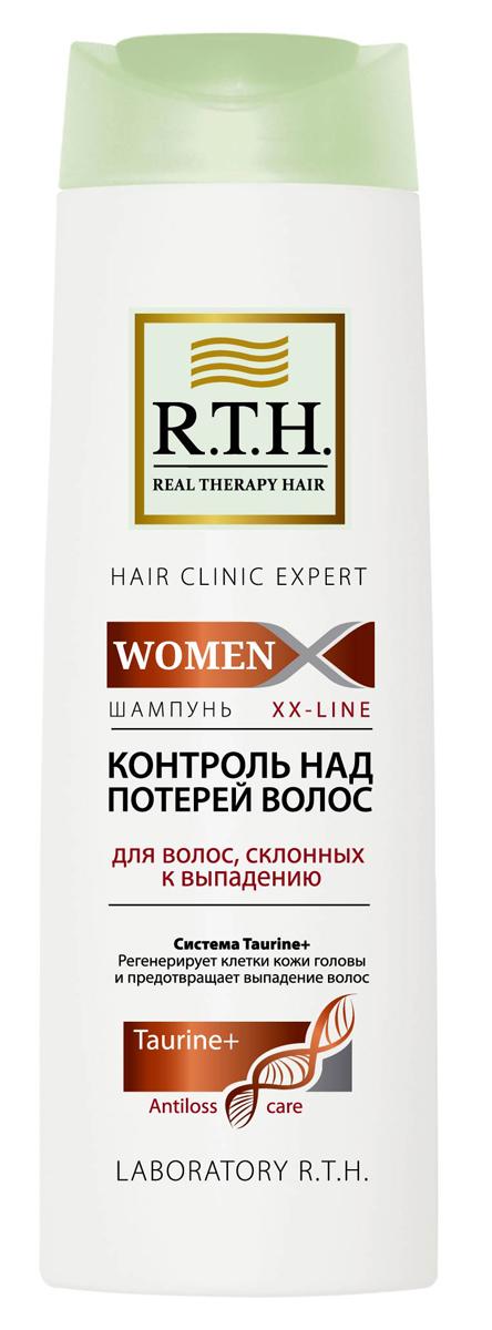 Шампунь R.T.H. Women Контроль над потерей волос4605845001449Формула шампуня обогащена системой Taurine+, которая утолщает и укрепляет стержень волоса, предотвращает процесс преждевременного выпадения волос. Комбинация витаминов PP и B6 обеспечивает регенерацию клеток кожи головы и корней волос.