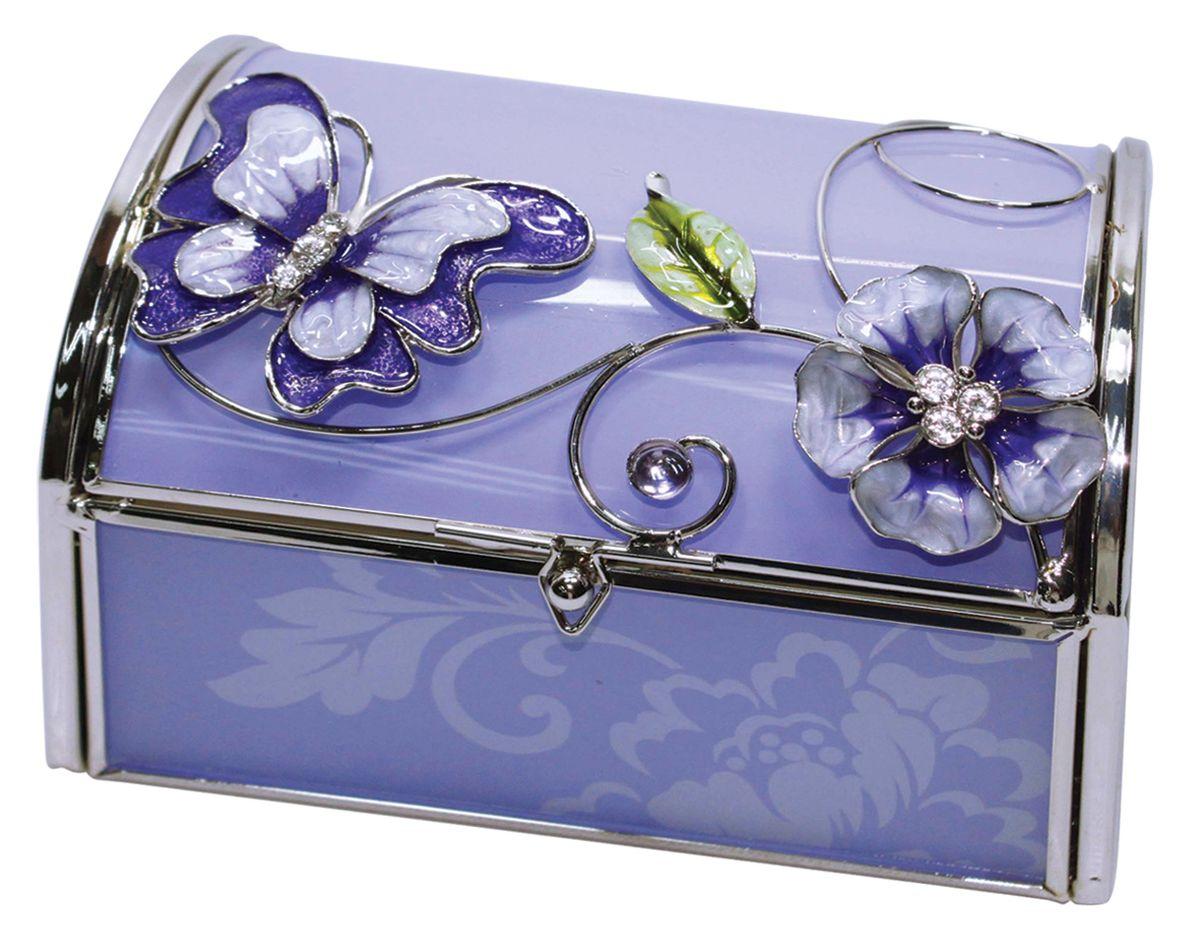 Шкатулка Jardin dEte Сиреневая фантазия, 11 х 10 х 7 смHS-22869Uсталь, стекло, пластик