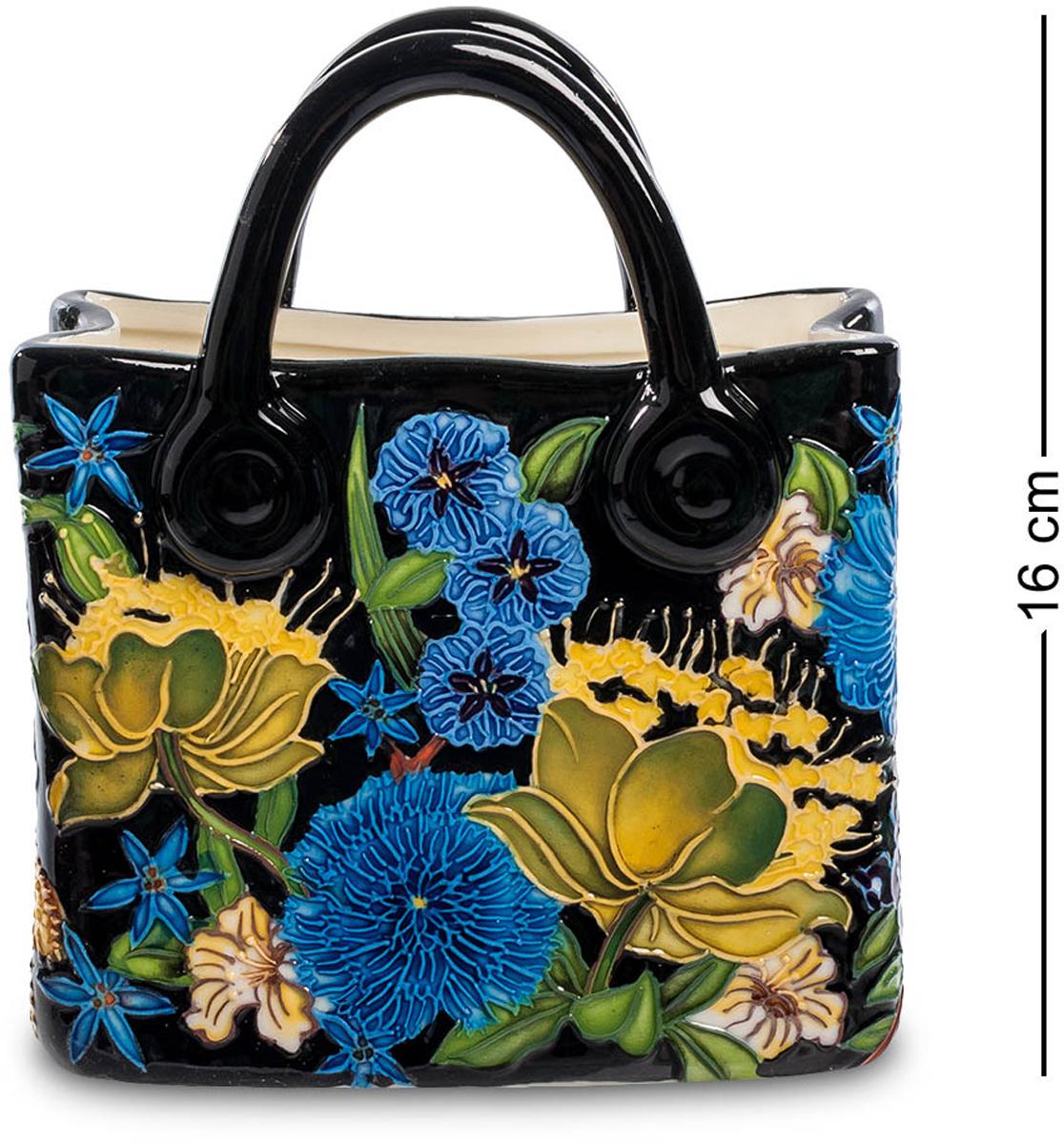 Ваза-кашпо Pavone Сумочка. JP-670/ 2JP-670/ 2Ваза высотой 16 см. Интересная ваза-кашпо очень напоминает женскую сумочку. Ее изысканность подчеркнута интересной расцветкой, которая ассоциируется с красками лета. Для изготовления кашпо использовался фарфор, основной цвет вазы – черный, на котором гармонично расцвели ярко-голубые и желтые цветы, которыми оформлено ее основание.